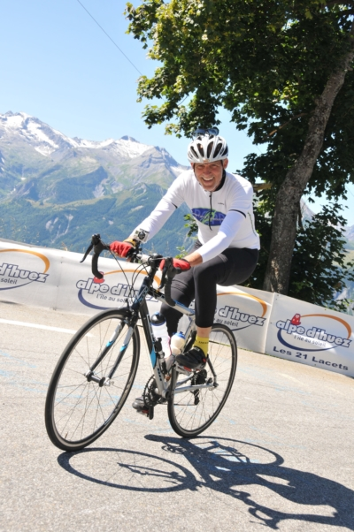 Cancer Journeys Foundation CEO Robert Hess climbing Alpe d'Huez